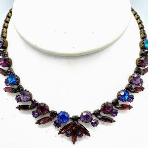 VTG Weiss Purple & Heliotrope Rhinestone Necklace